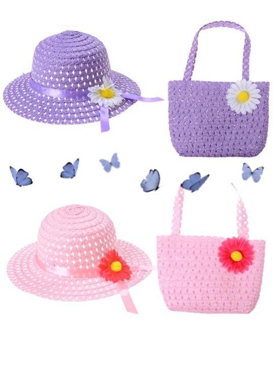 Girls Kids Beach Hats Bags Flower Straw Hat Cap Tote Handbag Bag Suit Children Summer Sun Hat Cute Girls Kids Gift girls flower decorated straw hat
