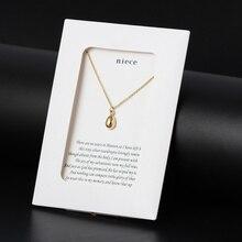 Souhait carte 1pc mignon larme forme breloque lien chaîne collier or couleur argent couleur bijoux famille cadeau avec enveloppe pour nièce CN88
