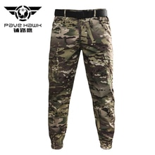 PAVEHAWK Multicam Tactical Cargo Pants Men Summer Waterproof Ankle Length Skinny Pencil Casual Camou