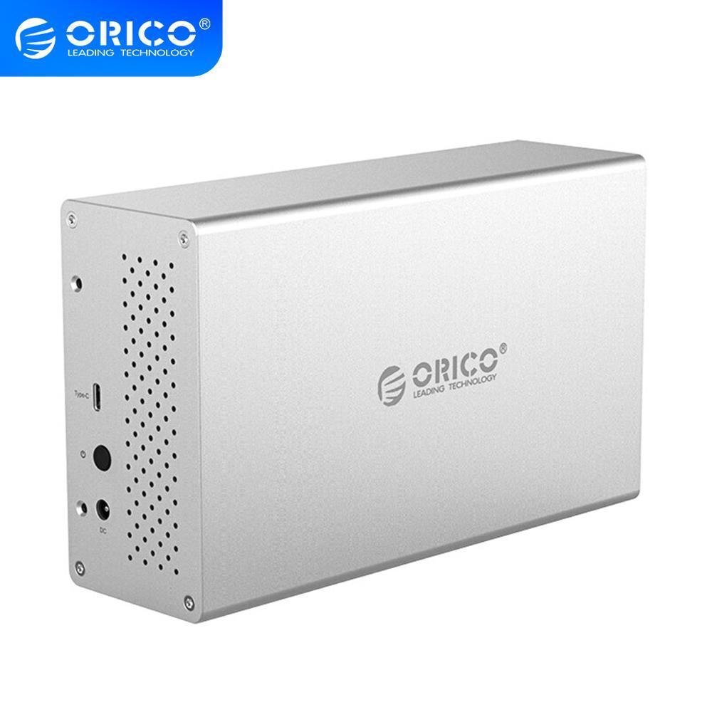 ORICO 3,5 pulgadas 2 tipo de Bahía C HDD estación de acoplamiento de aluminio USB3.1 carcasa de disco duro soporte 20TB 5Gbps 12V adaptador Funda de disco duro