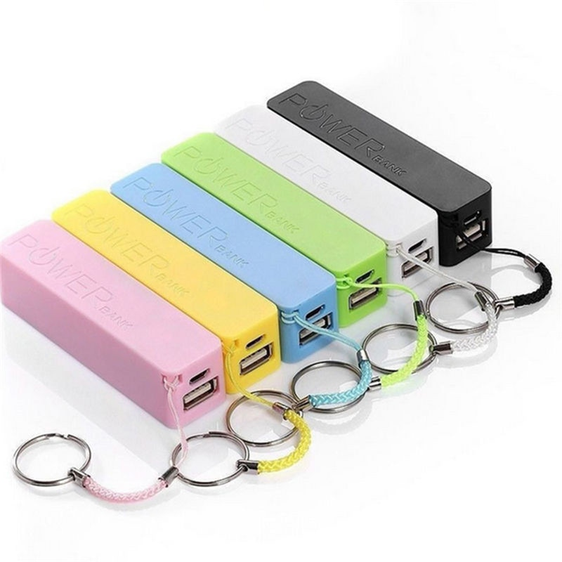 Powerbank with Key Chain USB Portable 2600mAh External Power Bank Case Pack Box 18650 Battery Charger No Battery
