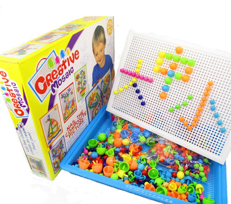 [Divertido] Juego DIY de rompecabezas de uñas de setas, juego creativo de mosaicos, tablero de guijarros, cesta para juguetes educativos de bebé + tablero de guijarros + 296 Uds juegos de uñas