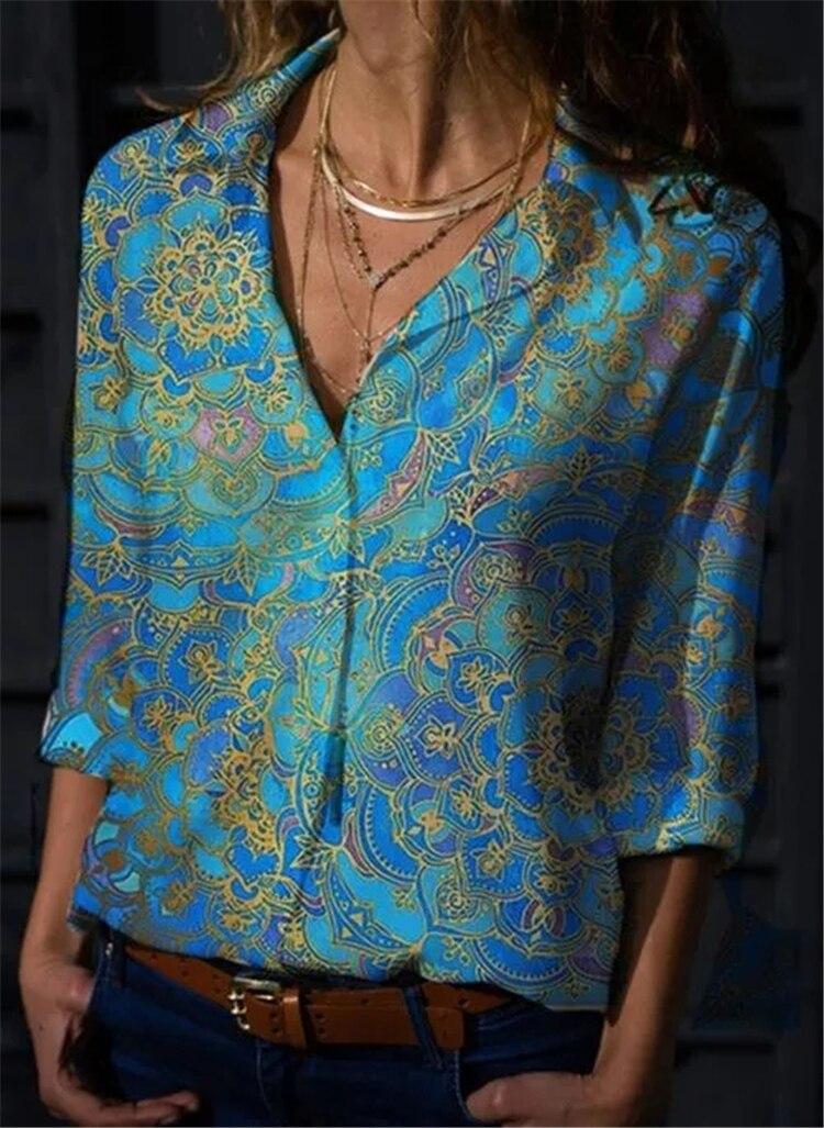 New Fashion Long Sleeve Ladies Shirt Slim Temperament Woman Shirt Casual Print Ladies Top