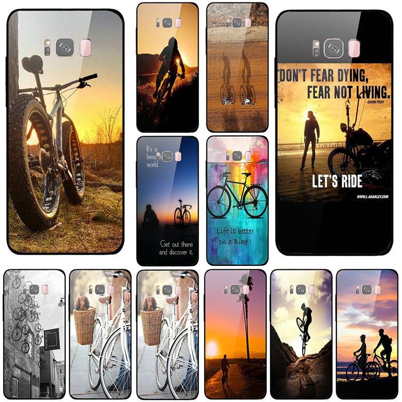 Fundas de teléfono móvil de vidrio templado para Samsung Galaxy A6 A8 A8S A9S S8 S9 S10 Plus Lite Coque Bags bicicleta ciclismo