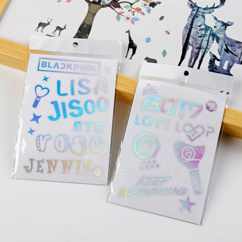 Kpop бродячие Детские лазерные наклейки Blackpink TXT TWICE GOT7 ITZY водонепроницаемые наклейки для мобильного телефона Красочные Меняющие цвет