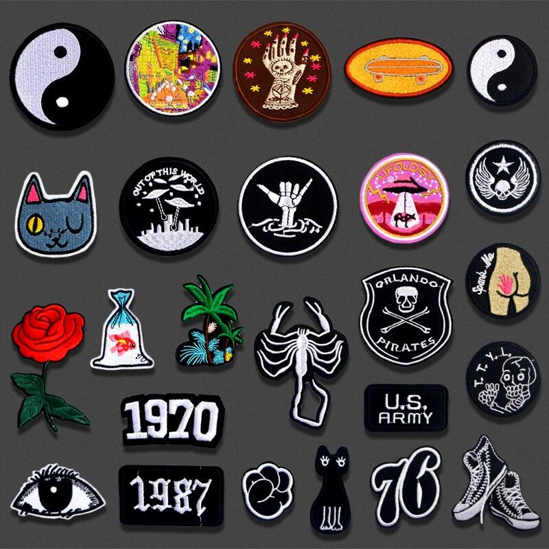 Parches bordados de hierro, sombrero de gato Gossip Rose Goldfish para ropa DIY, apliques de rayas, insignias, accesorios de ropa