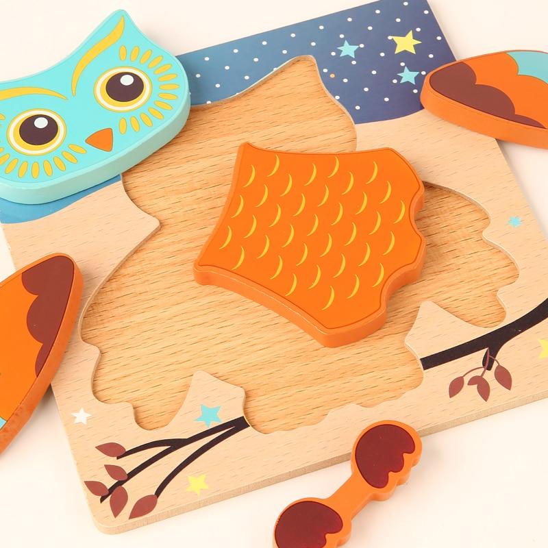 Деревянные 3D головоломки с животными, Игрушки для раннего обучения, Мультяшные познавательные головоломки, игра, детские головоломки для М...