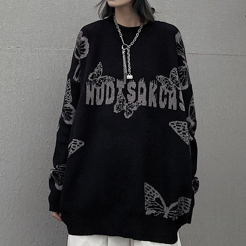 Harajuku Gothic Butterfly Jacquard Oversized Sweater Black O Neck Knitted Sweater for Women and Man 2020 New Loose Streetwear