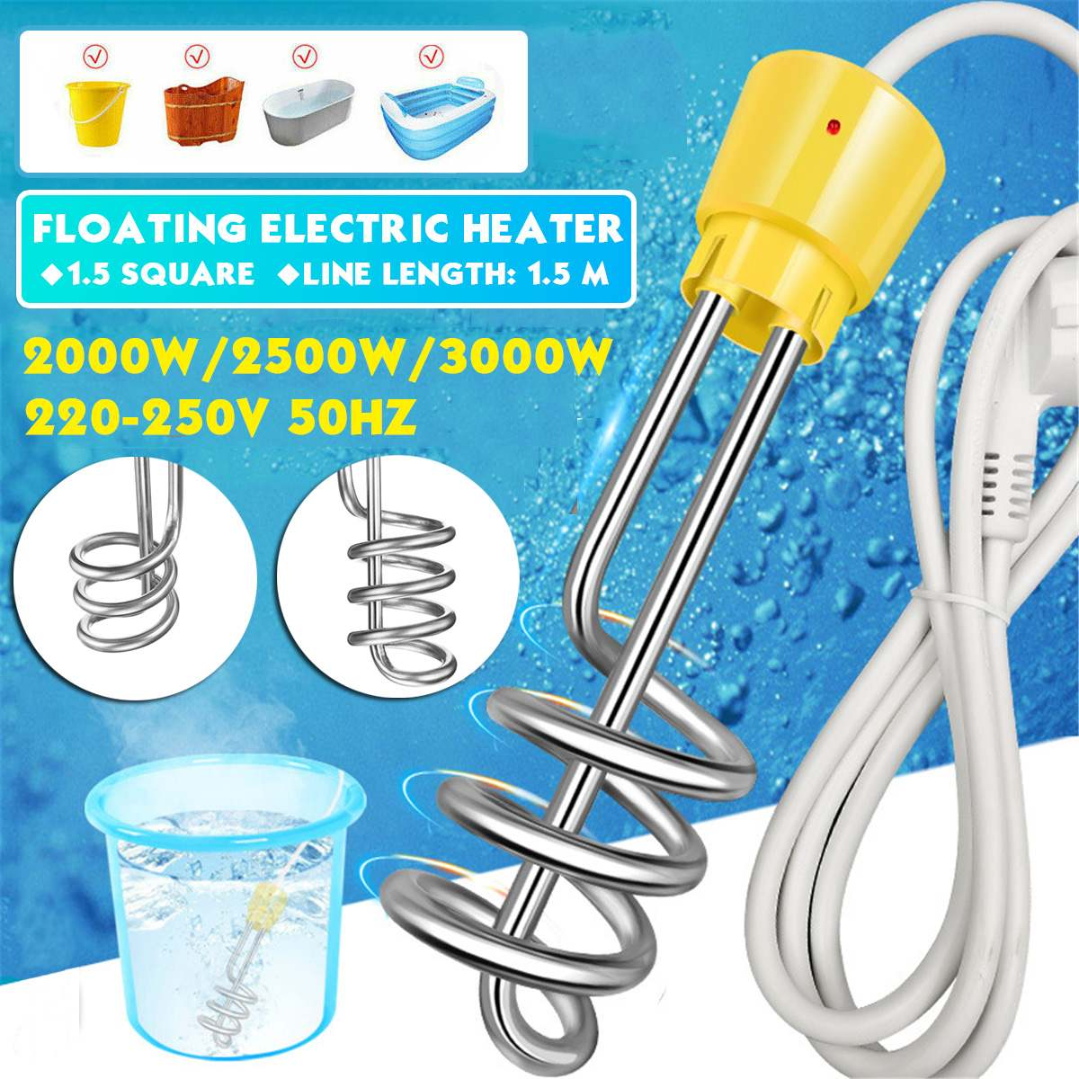 2000W/3000W Electricity Immersion Water Heater Element Boiler Portable Electric Water Heating rods for Inflatable Swimming Pool