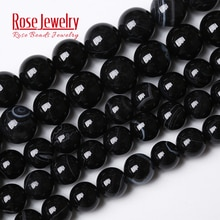 Pierre naturelle, Agates noires à rayures, 15 pouces, perles rondes pour la fabrication de bijoux, bricolage, brin 4, 6, 8, 10 et 12 MM