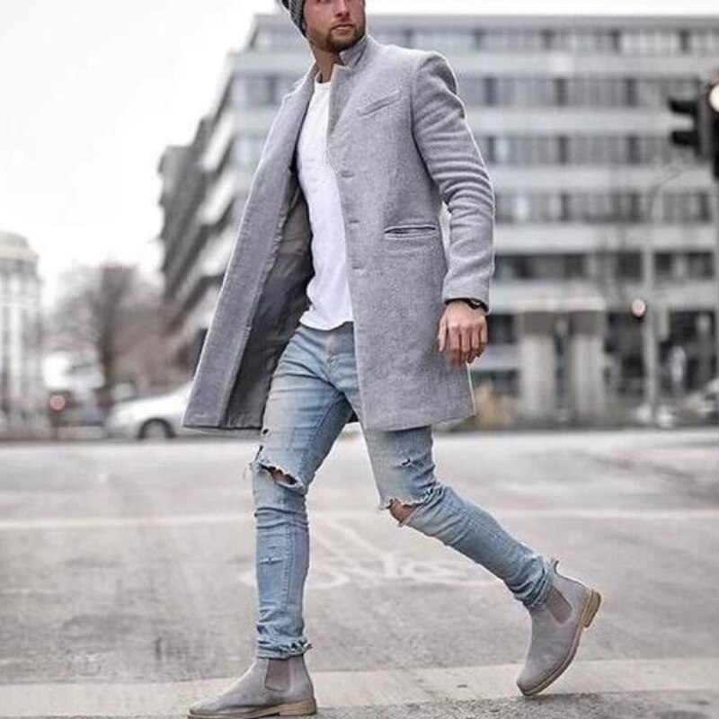 Men Autumn Winter Clothing Wool Jackets Blend Men's Fashion Solid Wool Coat Outwear Mens Overcoat Si