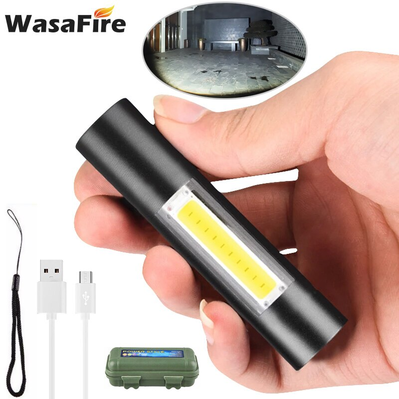 WasaFire 3 Modes Rechargeable LED Flashlight Use XPE + COB Lamp Beads 100 Meters Lighting Distance Used for Adventure, Camping