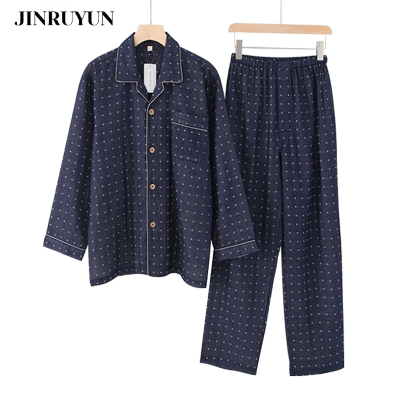 Pajamas set men's spring and autumn 100%cotont thin simple cardigan comfortable youth home service suit Japanese style sleepwear