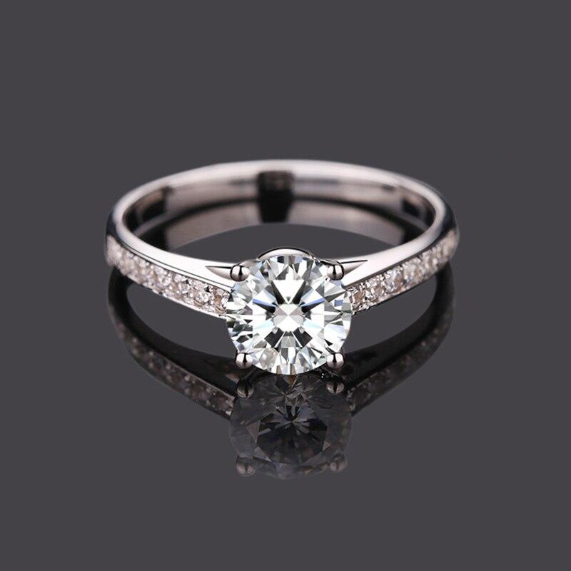 18K الذهب الأبيض 4 مخلب حلقة رومانسية نمط مويسانيتي مجوهرات الذكرى خاتم الخطوبة جولة بريليانت كربيد سيليكون مقطع
