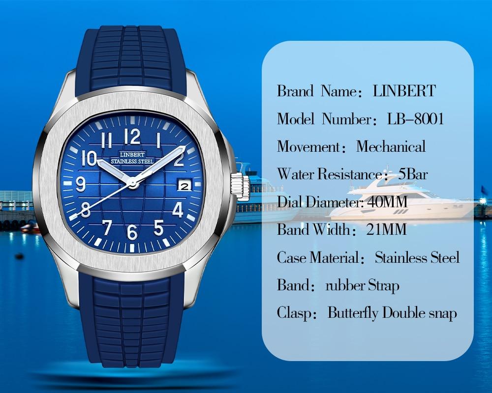 LINBERT 2021 Hot Selling Patek Men's Watch Automatic Mechanical Watch Luminous Stainless Steel Rubber Strap Grenade Sports Watch enlarge