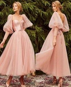 Elergant V-Neck Short Pink Muslim Evening Dresses A-Line Zipper Back Tulle Abendkleider Robes de Soirée for Women