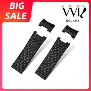 Rolamy 22mm Top Quality Luxury Black Brown Waterproof Silicone Rubber Replacement Wrist Watch Band Strap Belt For Ulysse Nardin