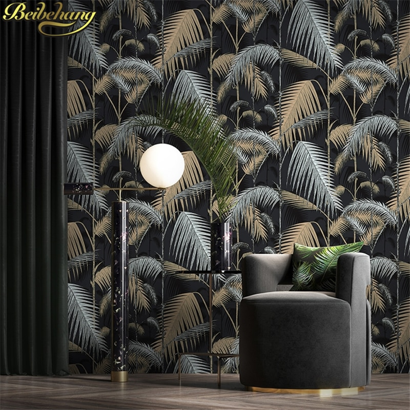 beibehang european palm tree papel de parede 3d wallpaper for living room tv background wall paper home decor contact paper roll beibehang wall paper Retro palm tree leaves papel de parede personality Nordic living room TV backgrounds non-woven wallpaper