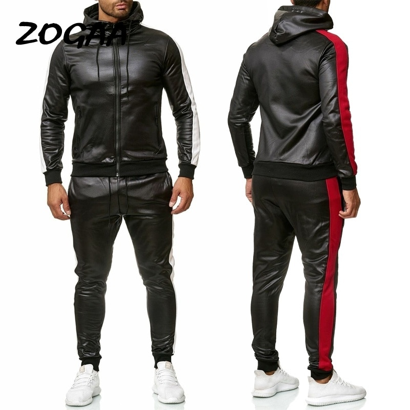 ZOGAA 2021 New Men's PU Leather Hoodies Set 2 Piece Casual Sweatsuit Hooded Jacket And Pants Jogging Suit Tracksuits Men