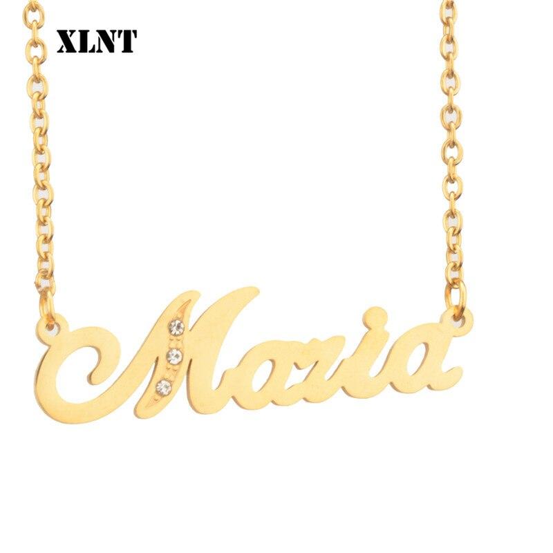 Xlnt maria nome colar com birthstone ou nome personalizado colar personalizado família colar presente para mulher