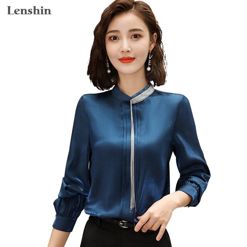 Lenshin Women Shiny Fabric Shirts Elegant Beading Blouse Work Wear Office Lady Female Tops Chemise Loose style Stand Collar