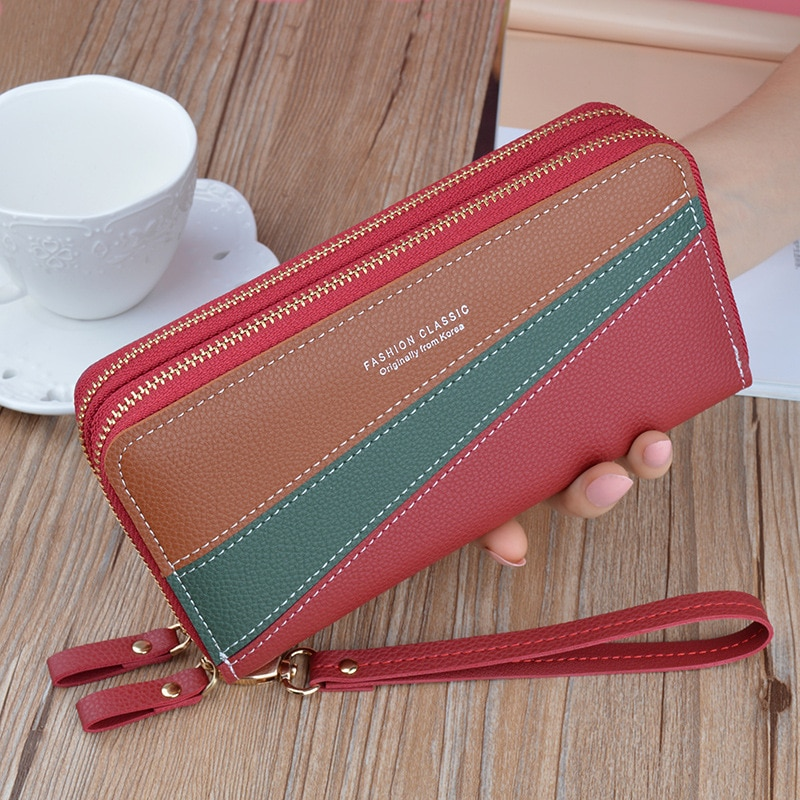 Soft PU Lychee Leather Stitching Contrast Double Zipper Card Slots Wallet Long Clutch Bag Large Capa