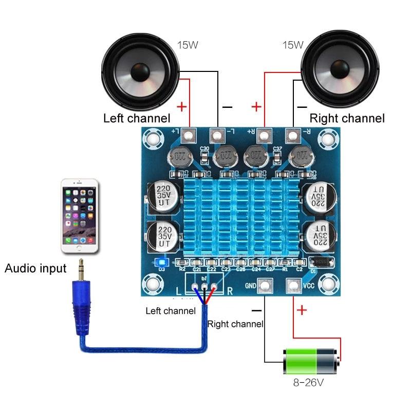 TPA3110 XH-A232 30W + 30W 2,0 canales, amplificador de potencia de Audio estéreo Digital, placa DC 8-26V 3A C6-001