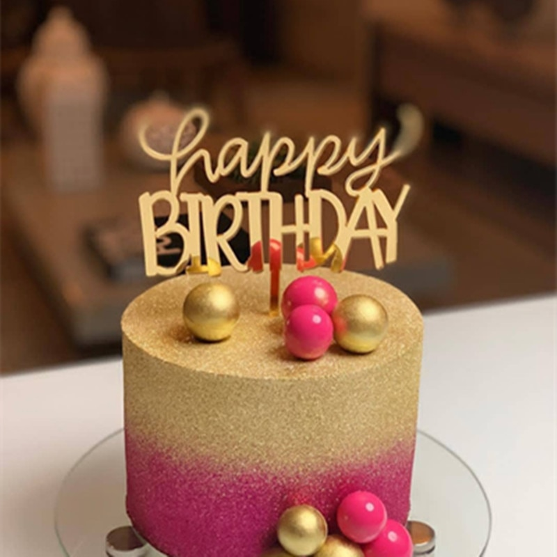 Cakesmile, rosa, oro, negro, feliz cumpleaños, adorno acrílico para pastel, cupcake, fiesta para hornear, Decoración de cumpleaños, herramientas de decoración de pasteles