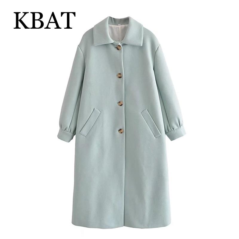 معطف شتوي للنساء من KBAT معطف فضفاض بأكمام طويلة بجيوب لعام 2021 معطف أنيق وطويل دافئ للنساء