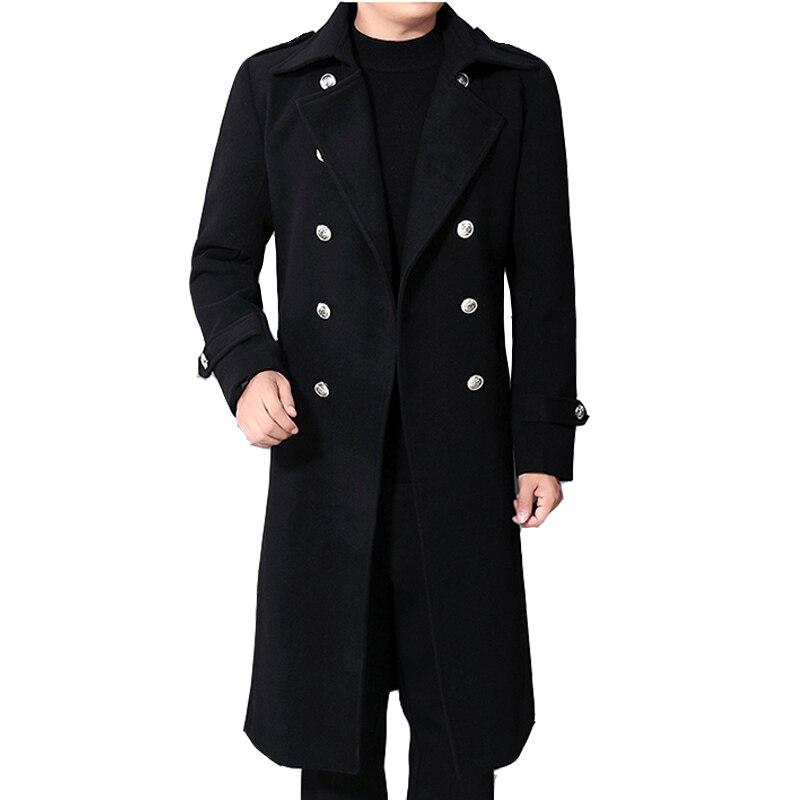 الخريف والشتاء الرجال الصوف معطف طويل/الأعمال صف مزدوج زر الصوف الدافئة الموسعة المخلوطة سترة واقية/عالية الجودة رجل معطف