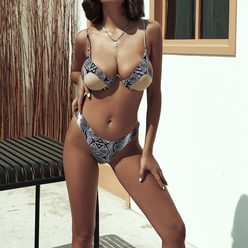 Sexy v-bar Underwired Bikini 2019 traje de baño femenino traje de baño de dos piezas V shap splice Bikini set bañador traje de baño