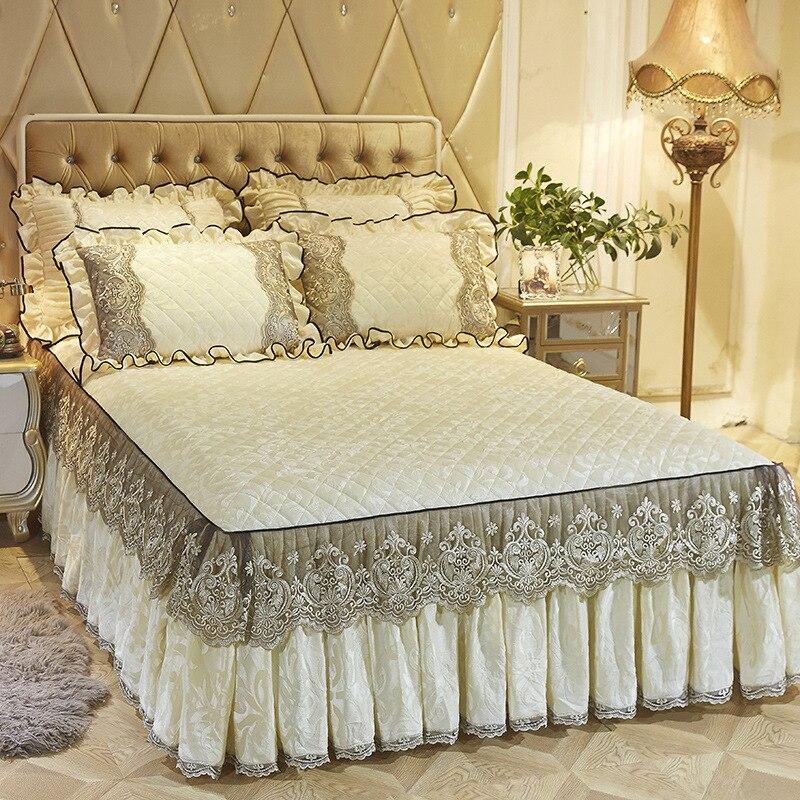 220X220cm polaire couvre-lit matelassé jupe double reine King size ensembles de lit drap housse de lit parure de lit adulte ropa de cama