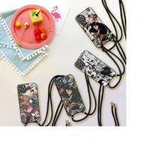 attack on titan levi ackerman phone case for iphone 7 8 11 12 x xs xr mini pro max plus strap cord chain lanyard soft