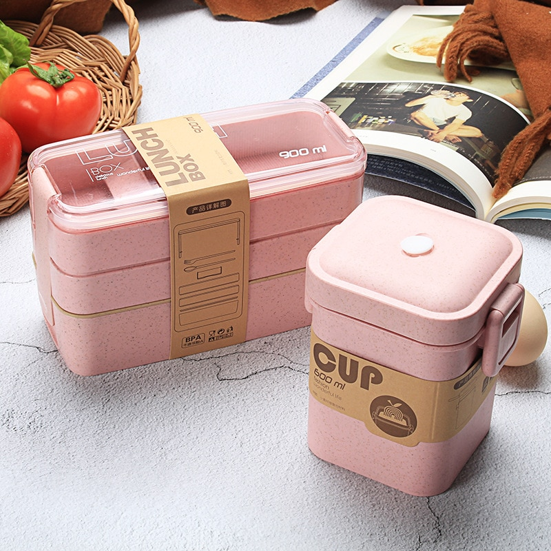 600ml Soup Box 900ml 3 Layers Lunch Box Bento Food Container Eco-Friendly Wheat Straw Material Microwavable Dinnerware Lunchbox
