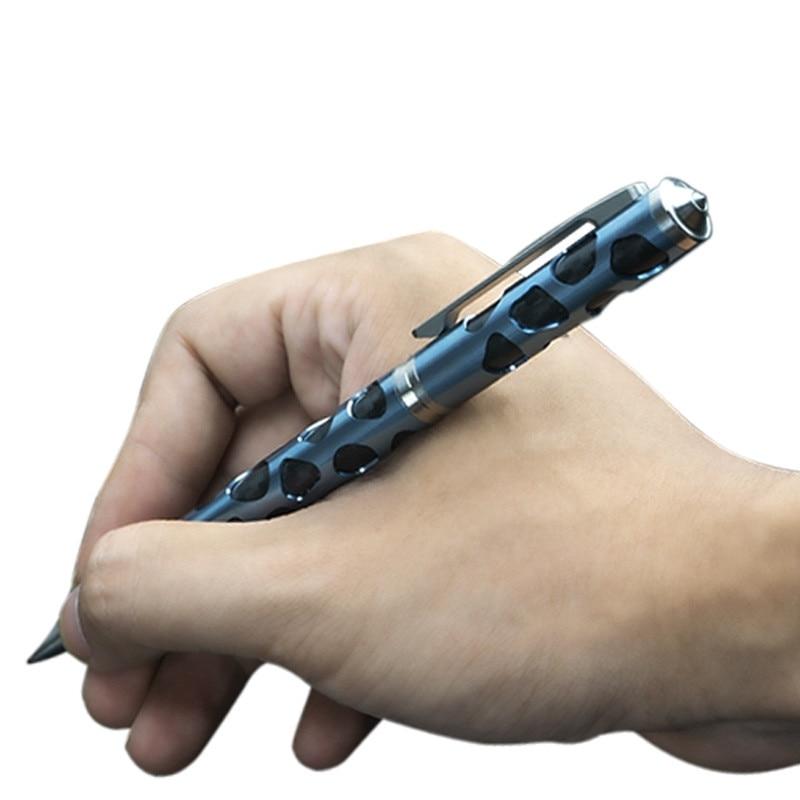 قلم دفاع عن النفس ، قلم تكتيكي للدفاع عن النفس من سبائك التيتانيوم ، بقاء خارجي ، كتابة يدوية ، متعدد الوظائف
