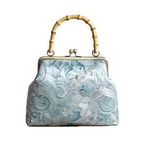 Vintage Fashion Shell Lock Wood Hand Women Bag Shoulder Crossbody Bags 2021 NEW Women's Handbags Purses with 120cm Strap