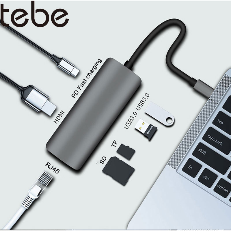 Tebe 7 في 1 USB C محور نوع-C إلى HDMI RJ45 جيجابت إيثرنت USB3.0 SD/TF الإرساء محطة PD سريع شحن محول ل ماك بوك