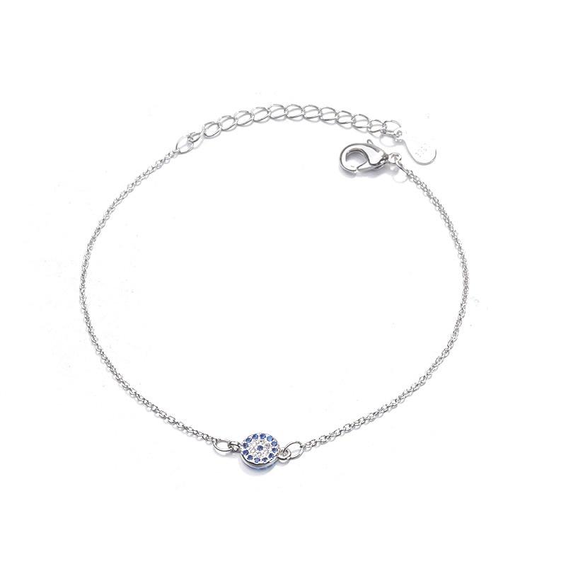 Tiny Trendy Cubic Zirconia Evil Eye Bracelet Luxury Charm Classic Blue Cz Stone Bracelet For Women Girls Jewelry