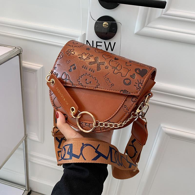 Women's Shoulder Saddle Bag Vintage Cartoon Print High Quality Leather Crossbody Handbags Wholesale
