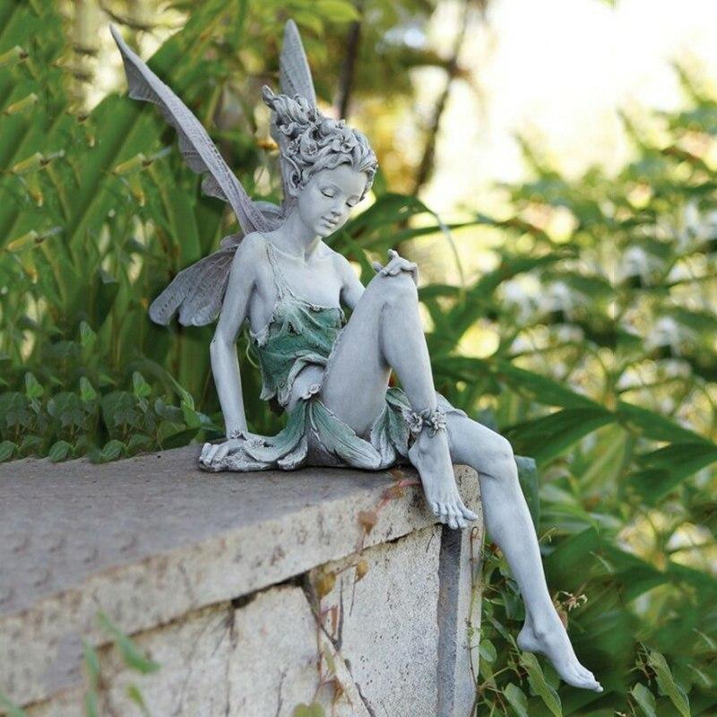 Статуя Ангела тудора и сидящей феи, уличное садовое украшение, полимерное ремесло, ландшафтное художественное украшение, аксессуары для до...
