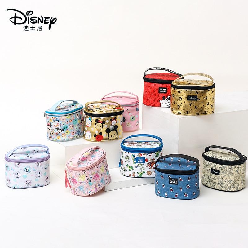 Original Disney Mickey Mouse Minnie Round Barrel Female Cosmetic Storage Bag Large Capacity Home Portable Travel