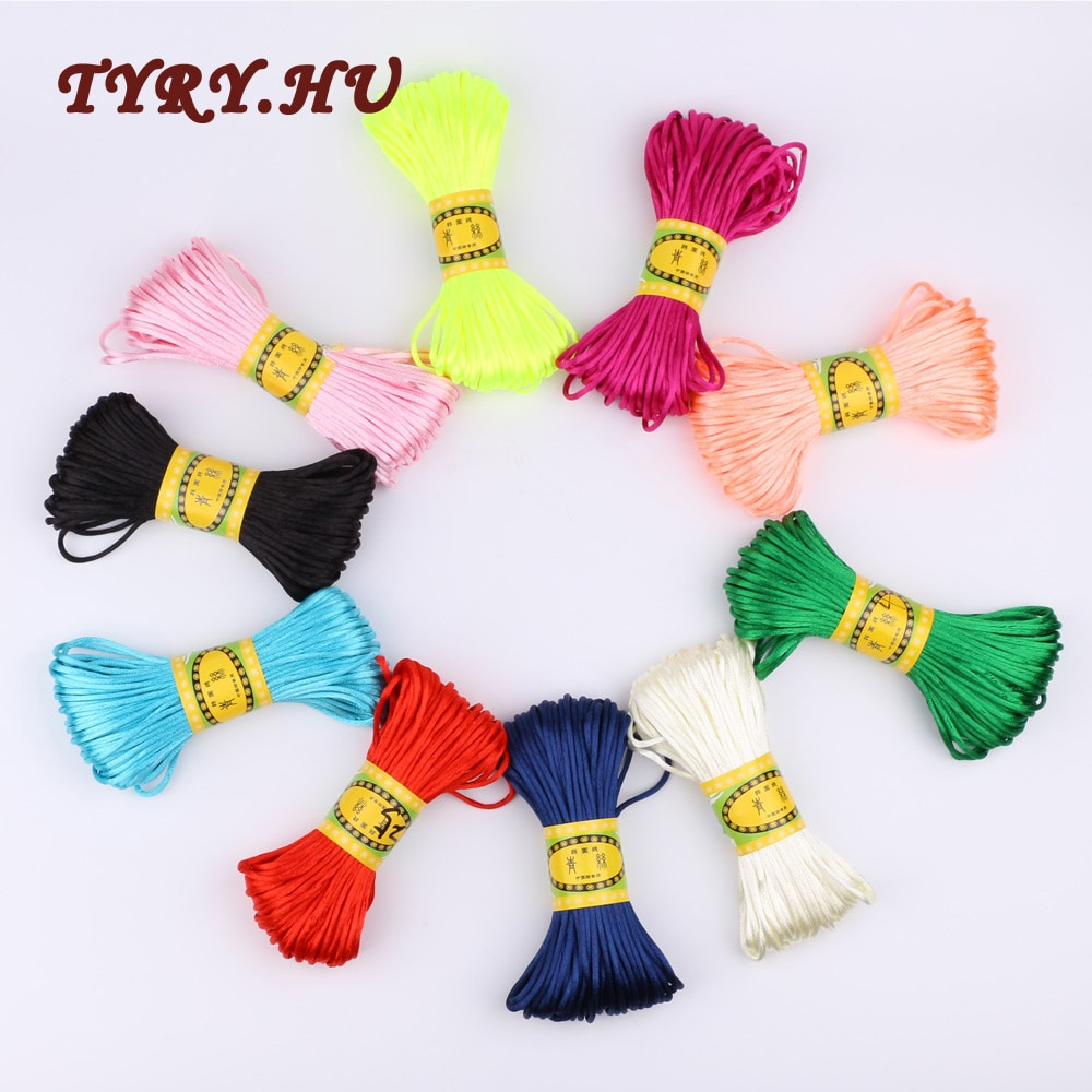 TYRY.HU 20m 2.5mm Satin Silk Rope Nylon Cord For Baby Teether Accessories Teething Necklace Rattail Cord DIY Tool 10Color