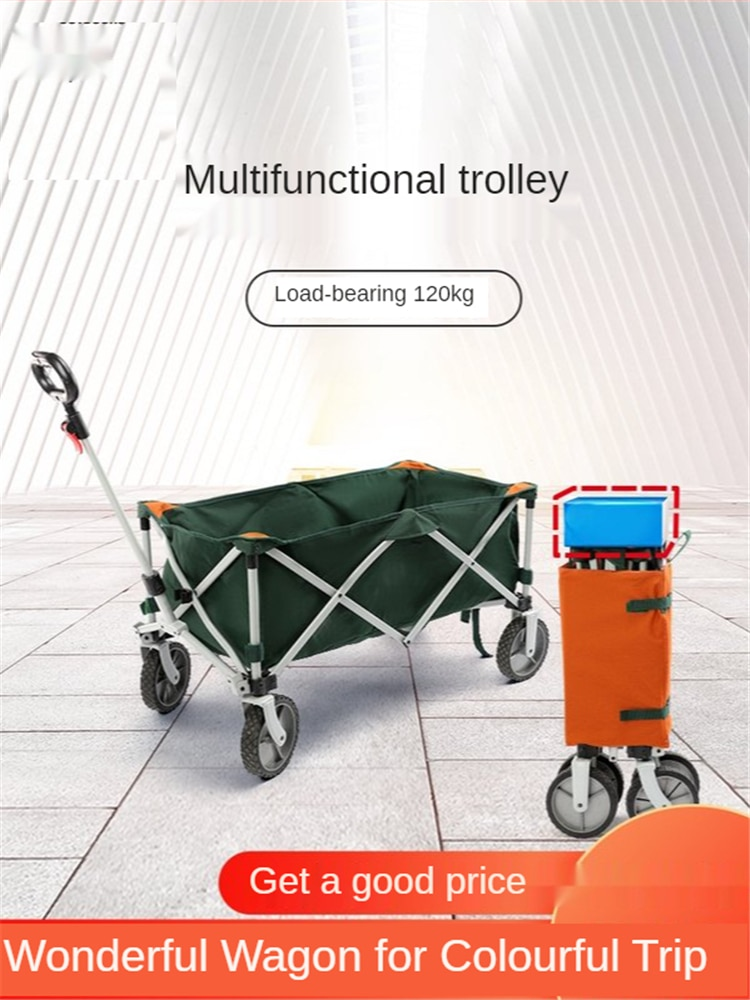 Folding Wagon Cart Heavy Duty Collapsible Utility Wagon Outdoor Camping Garden Trolley Universal Wheels for Camping Sports
