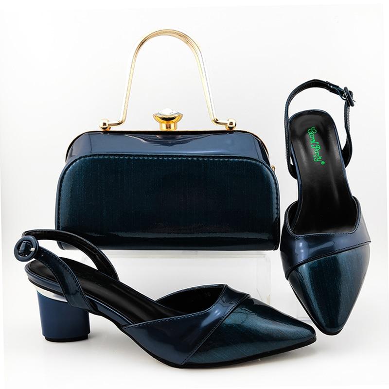 Frete grátis azul marinho sandália sapatos com garras saco conjunto de correspondência 2.7 polegadas sandália e saco de noite conjunto nova moda SB8466-5