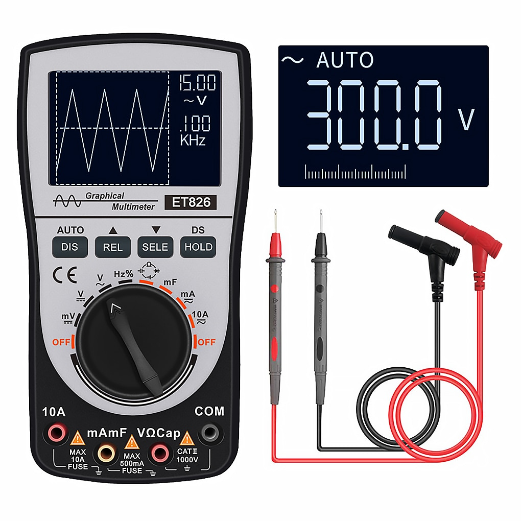 ET826 Display Multimeter Capacitor Tester DC/AC Voltage Current Test Professional High Precise 6000 Counts Handheld With Backlit