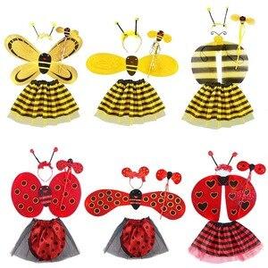 5 шт./лот, Детский костюм для девочек с желтыми крыльями пчелы, головная повязка, Цветочная палочка, юбка, костюм, реквизит для выступлений, ск...
