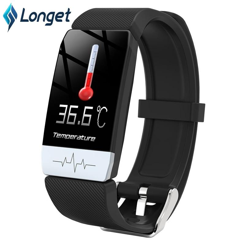 Reloj inteligente T1 resistente al agua, pulsera inteligente con control de la temperatura corporal, control de la inmunidad, ECG y control del ritmo cardíaco, IP67