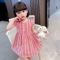 summer new style flying sleeve skirt pure cotton casual skirt childrens skirt korean princess dress childrens dress