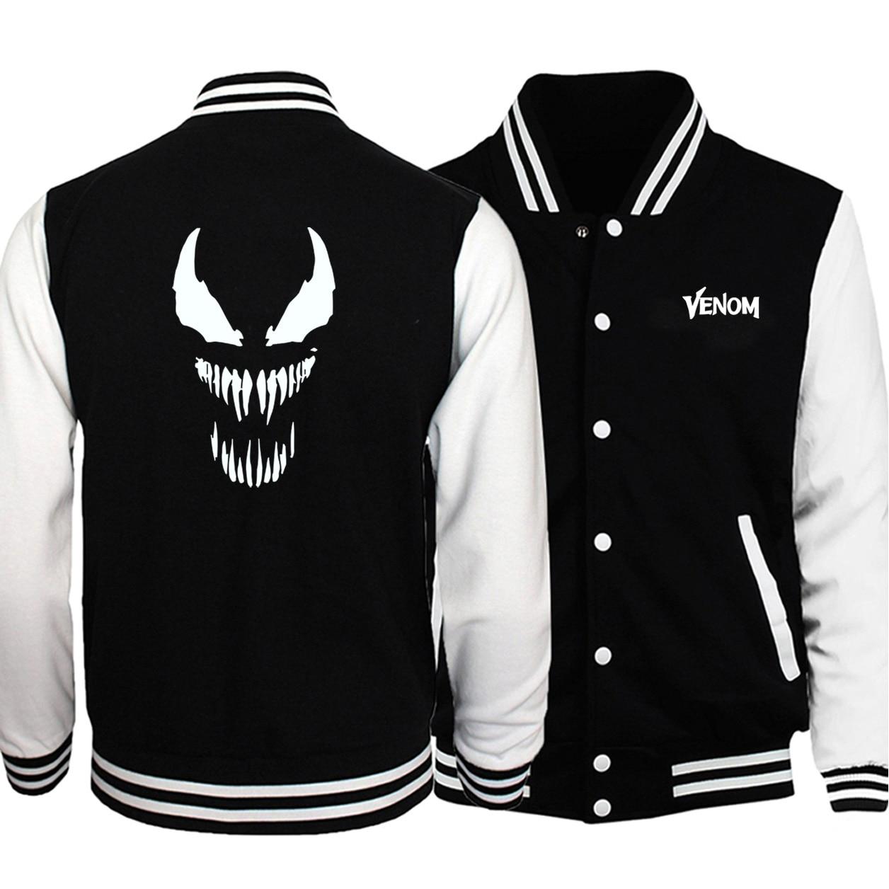 2020 New Arrival Venom Print Superhero Men Jackets Game Of Thrones Baseball Jackets Men Casual Hoodies Men Fashion Hip Hop Warm