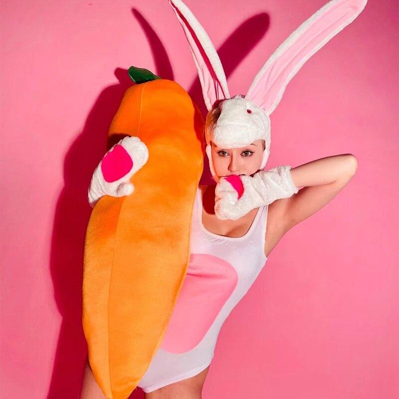 Nightclub Bar Dj Ds Wear Stage Performance Festival Clothing Sleeveless Bodysuit Cute Headwear Rave